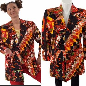 Vintage chili pepper quilted blazer peppers tassel
